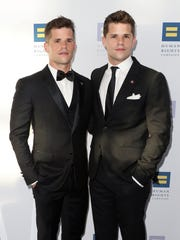 Actors Charlie Carver (left) and Max Carver in March attend the Human Rights Campaign 2017 Los Angeles Gala Dinner at JW Marriott Los Angeles.