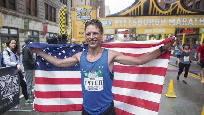 Former Iowa State runner Tyler Jermann, after finishing third at the 2016 Pittsburgh Marathon.