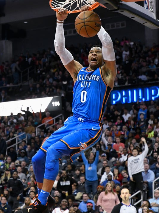 Oklahoma City Thunder guard Russell Westbrook dunks during the second half of an NBA basketball game against the Atlanta Hawks, Tuesday, March 13, 2018, in Atlanta. Oklahoma City won 119-107. (AP Photo/John Amis)