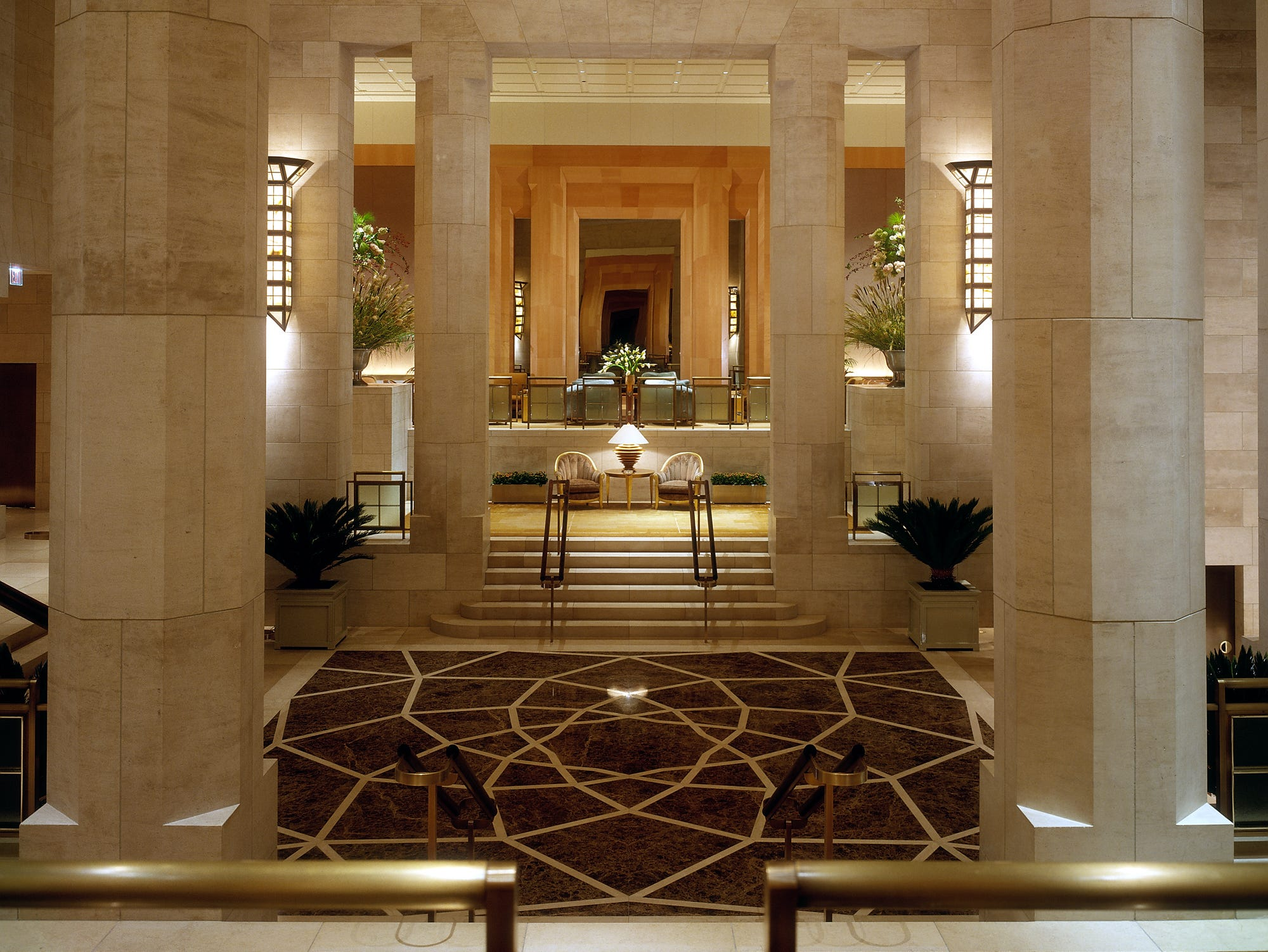 The I.M. Pei-designed lobby of Four Seasons Hotel, New York, is a temple of architecture.