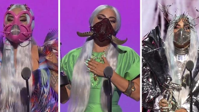 This combination photo of video grabs by MTV, issued Sunday, Aug. 30, 2020, shows Lady Gaga wearing masks during the MTV Video Music Awards.