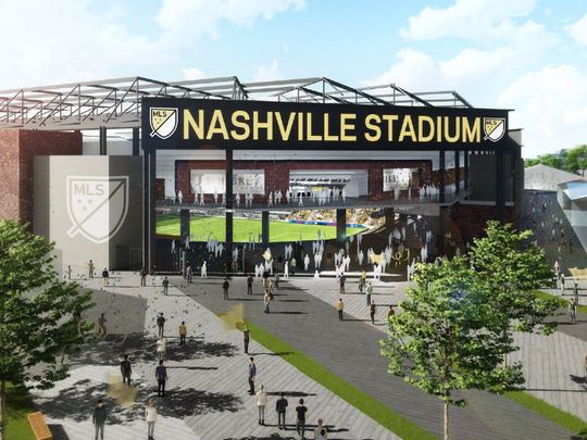 A rendering shows a proposed Major League Soccer stadium