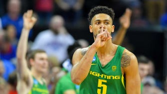 Oregon Ducks guard Tyler Dorsey (5) reacts during the second half against the Kansas Jayhawks in the finals of the Midwest Regional of the 2017 NCAA Tournament at Sprint Center. Oregon defeated Kansas 74-60.