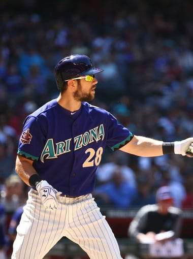 Arizona Diamondbacks Steven Souza Jr. bats against the Los Angeles Dodgers in the 6th inning on May 3, 2018 at Chase Field in Phoenix, Ariz.