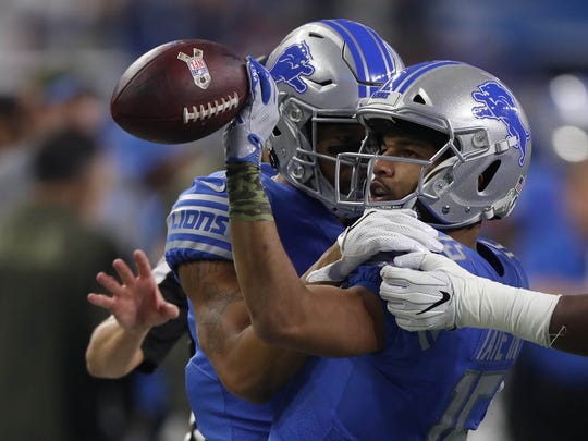 Detroit Lions' Golden Tate celebrates his catch against the Cleveland Browns in the second quarter Sunday, Nov. 12, 2017 at Ford Field.
