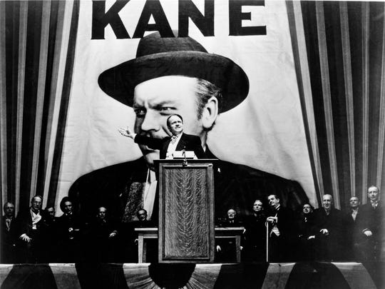 Media mogul Charles Foster Kane (Orson Welles) campaigns for governor in the Welles-directed 'Citizen Kane,' considered by many to be the greatest American film.