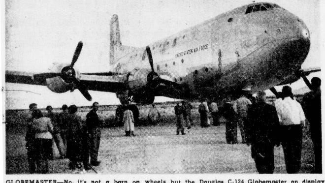 A Douglas Aircraft C-124 Globemaster transport aircraft on display during the Junior Chamber of Commerce's Air Education Day display at the Palm Springs Airport. This photo appeared in The Desert Sun on Jan. 26, 1951 - just a few months before the aircraft company was back at the table to try to gain Palm Springs residents' support for a test facility within the city limits.