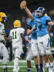 Gators Eli Fournet (14) celebrates after making the fumble recovery during the first half of the LHSAA Division IV championship game between Southern Lab and Ascension Episcopal in the Mercedes-Benz Super Dome on Friday December 2, 2016.