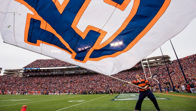 Auburn in first half action in the Iron Bowl in Auburn, Ala. on Saturday November 25, 2017. (Mickey Welsh / Montgomery Advertiser)