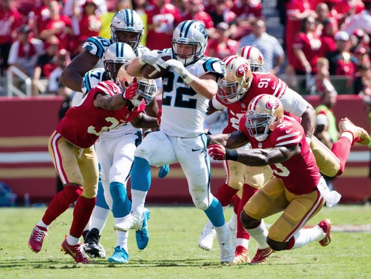 Panthers rookie running back Christian McCaffrey had