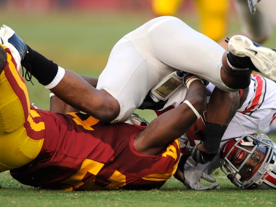 It wasn't on this play, but it was in this game in 2008 against Ohio State that USC defensive back Shareece Wright suffered a broken C-5 vertebrae.