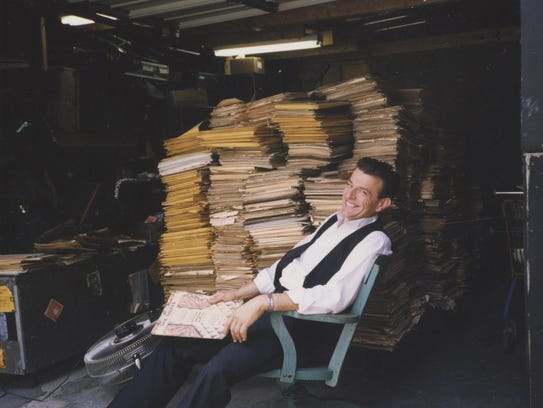 Vince Giordano and his album collection.