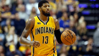 Indiana Pacers forward Paul George (13) says he wants to stay with the Pacers.