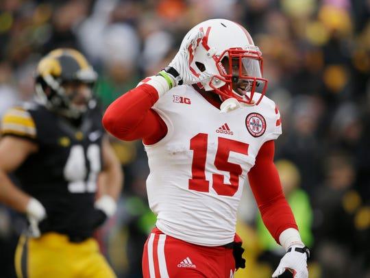 Nebraska punt returner De'Mornay Pierson-El gestures