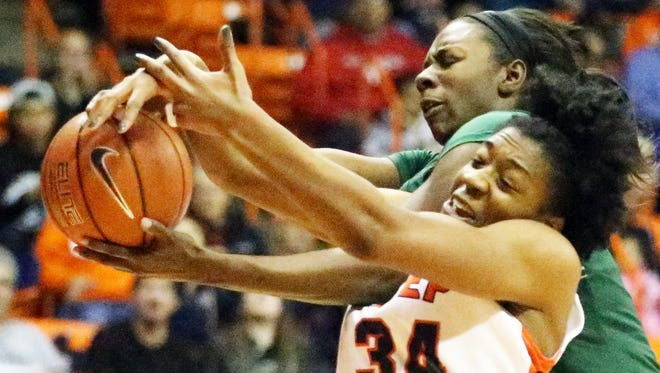 UTEP forward Lawna Kennedy, 34, fights for a rebound with UAB's Brittany Winborne, 15, Sunday night in the Don Haskins Center.