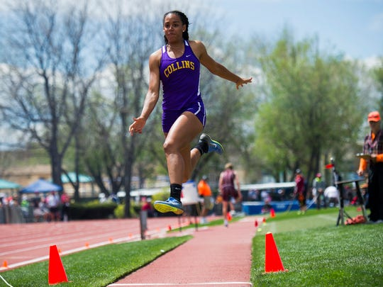 Fort Collins' Audra Koopman competes in the 5A long jump during the CHSAA Track and Field championships Sunday, May 21, 2017 at Jeffco Stadium. Her best jump was 19 feet and a half of an inch.