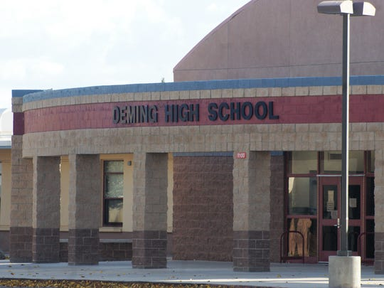 The entrance to the old Deming High School, where a former secretary's handling of funds has come under scrutiny.