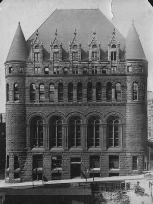 The Chamber of Commerce Building, designed by H.H. Richardson, was a monumental sight at Fourth and Vine streets until it was destroyed in a fire in 1911.