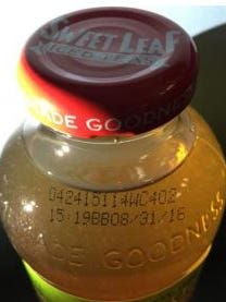Customers can find the best by date on the shoulder of the bottle.