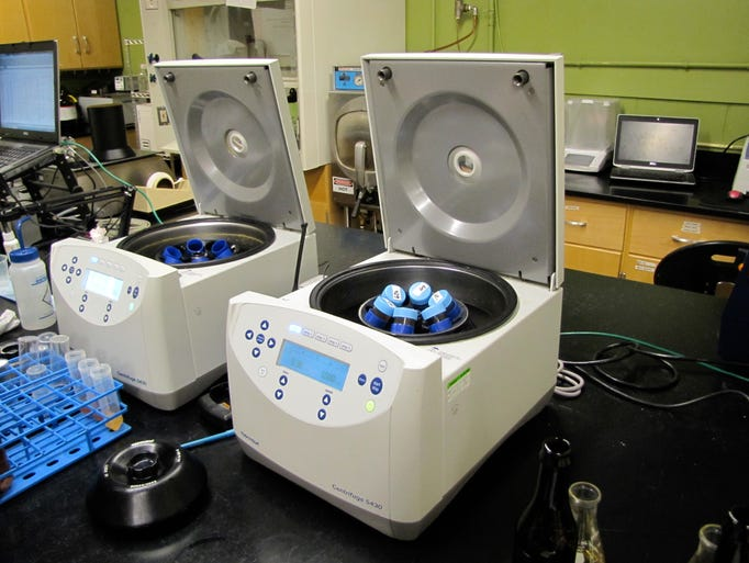 The centrifuge spins beer to separate different particles,