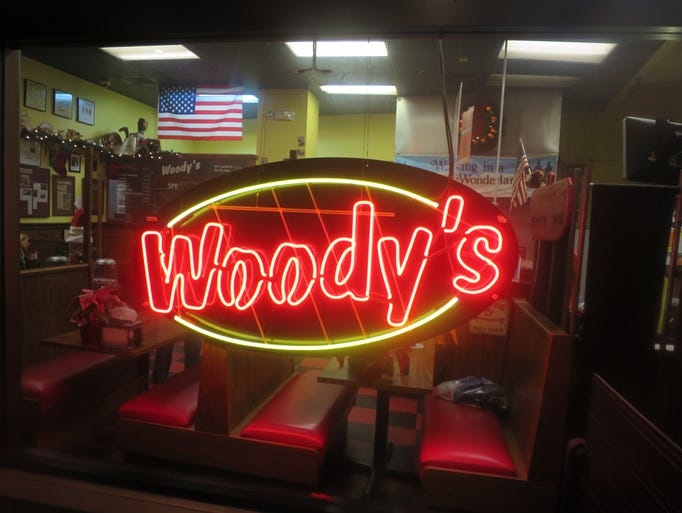 Woody's is inside the lobby of an office building in