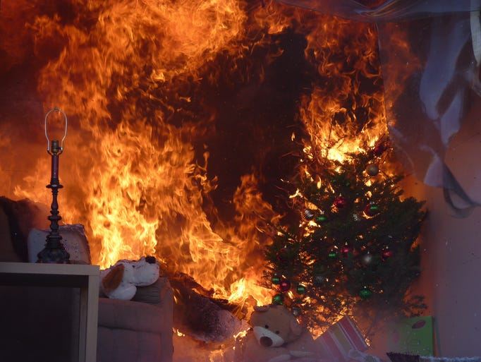 A fire was lit for a demonstration showing a Christmas