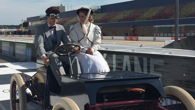 Brad Keselowski drove a replica of a 1901 Ford around the Michigan International Speedway layout on Friday.