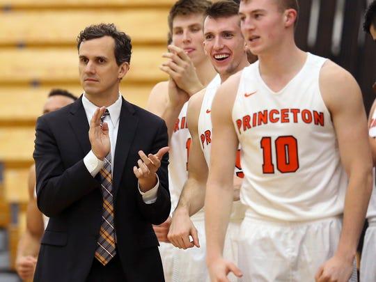Princeton coach Mitch Henderson (left)
