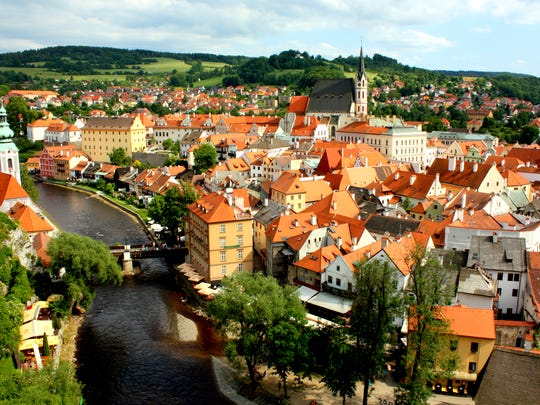 Scenic view of the town of Chesky Krumlov in the Czech Republic.