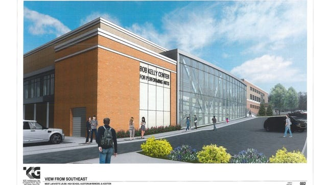 A high-resolution rendering of a proposed performing arts center for the West Lafayette Jr./Sr. High School.