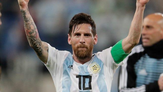 Argentina's Lionel Messi celebrates after the win against Nigeria.