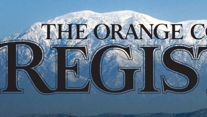 The masthead of the Orange County Register, which was approved for purchase by the Digital First Media on March 21, 2016.