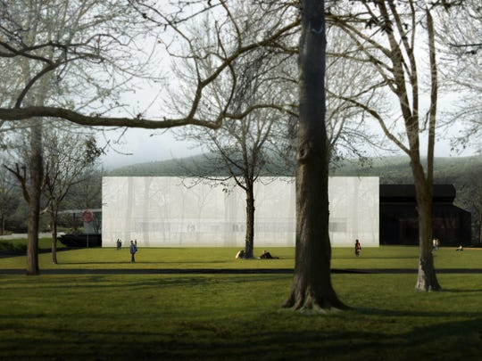 An exterior view of the new North Wing at the Corning Museum of Glass.