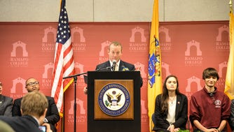 """""""I'm optimistic, and I want you to be too,"""" Rep. Josh Gottheimer told a crowd at Ramapo College on Thursday."""
