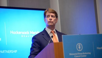 Co-CEO of Hackensack Meridian Health Network Robert, C. Garrett speaking at the Hackensack Meridian Health and Memorial Sloan Kettering announcement of a new cancer care partnership on Dec. 14, 2016.