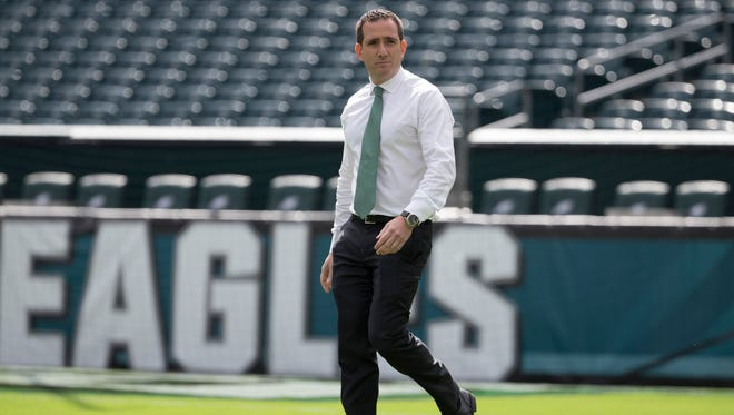 Philadelphia Eagles executive vice president of football operations Howie Roseman and the Eagles are preparing for the NFL draft on April 26-28.