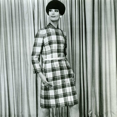 1967: Coatdress in a great plaid of grey, tan, and
