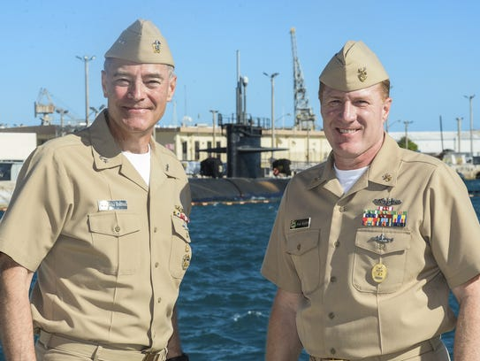 "Rear Adm. ""Fritz"" Roegge, left, U.S. Pacific Fleet"