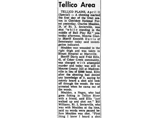 The Sept. 11, 1968, edition of the old Monroe County Democrat reports about the acquittal of Fred Ellis in connection with the shooting of Charles Moulden. It is the only known newspaper story that reported the outcome of the trial. (Tennessee State Library & Archives)