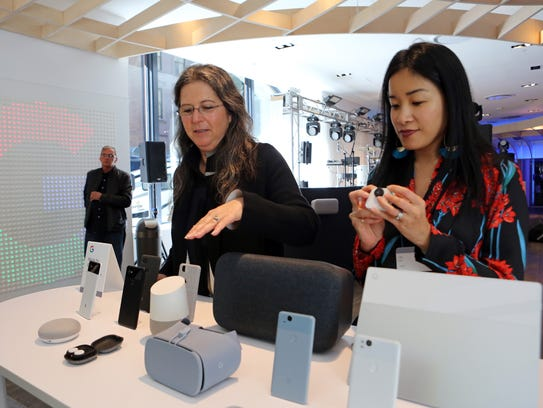 Ivy Ross, left, and Lily Lin of Google introduce the
