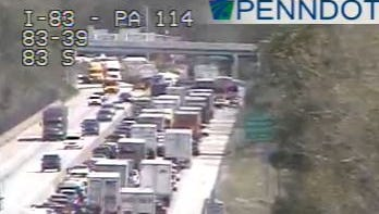 Traffic is backed up on I-83 south near exit 39 because of a vehicle fire near Reeser's Summit.