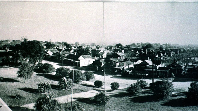A photo of the Hawkshaw area of downtown Pensacola, taken in 1939, in and around what is now the Aragon area.