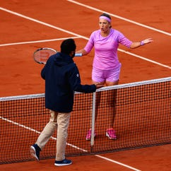 Victoria Azarenka (BLR) reacts to a line call during her match against Serena Williams (USA)  at the French Open on May 30, 2015.