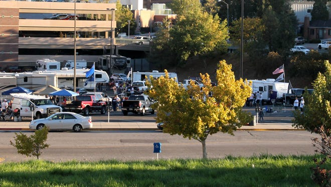 A parking lot filling with RVs near Mackay Stadium is pictured on a Wolf Pack game day.