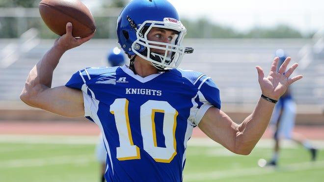 Luke Fritsch throws a pass during O'Gorman's football practice last week.