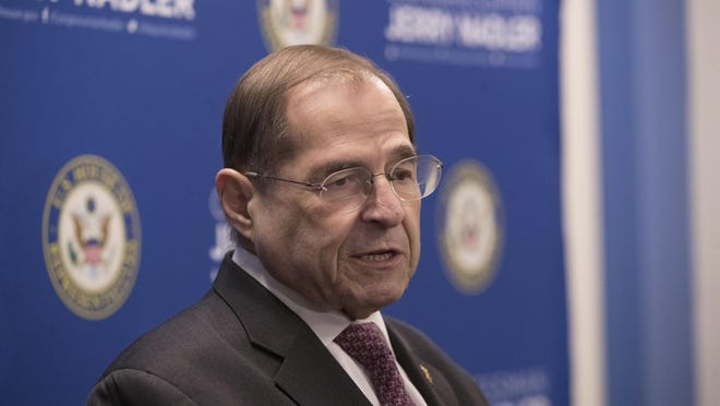 """U.S. Rep. Jerrold Nadler, D-N.Y., speaks during a news conference, Thursday, April 18, 2019, in New York. """"The responsibility now falls to Congress,"""" said Nadler, D-N.Y., the chairman of the House Judiciary Committee, which has the power to launch impeachment proceedings."""