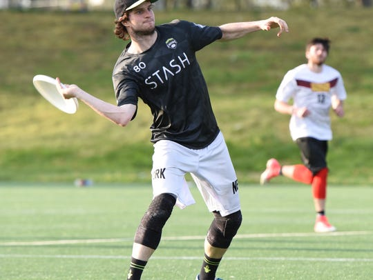 New York Empire player #80 Ryan Drost cocks back to throw a forehand | Courtesy of New York Empire | March 27, 2018