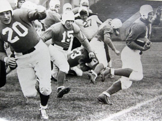 """Thomas Tucker """"""""Swede'' Hanson, a star athlete at Leonardo High School in the mid-1920s before playing at Temple, is shown running the ball for the Philadelphia Eagles in the mid-1930s. The photo is from the collection of Ray Veth,"""