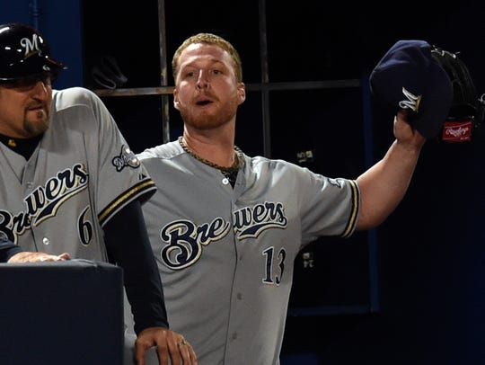 Milwaukee Brewers relief pitcher Will Smith (13) reacts