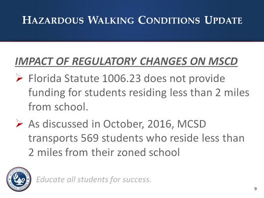 A Martin County School District Power Point presentation about hazardous walking conditions.
